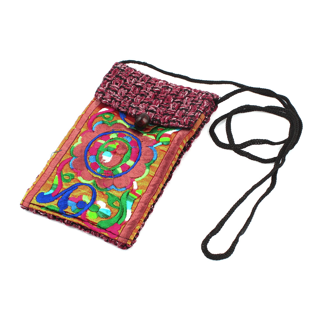 Red Orange Embroidery Floral Pattern Hand Strap Knitting Smartphone Pouch Bag