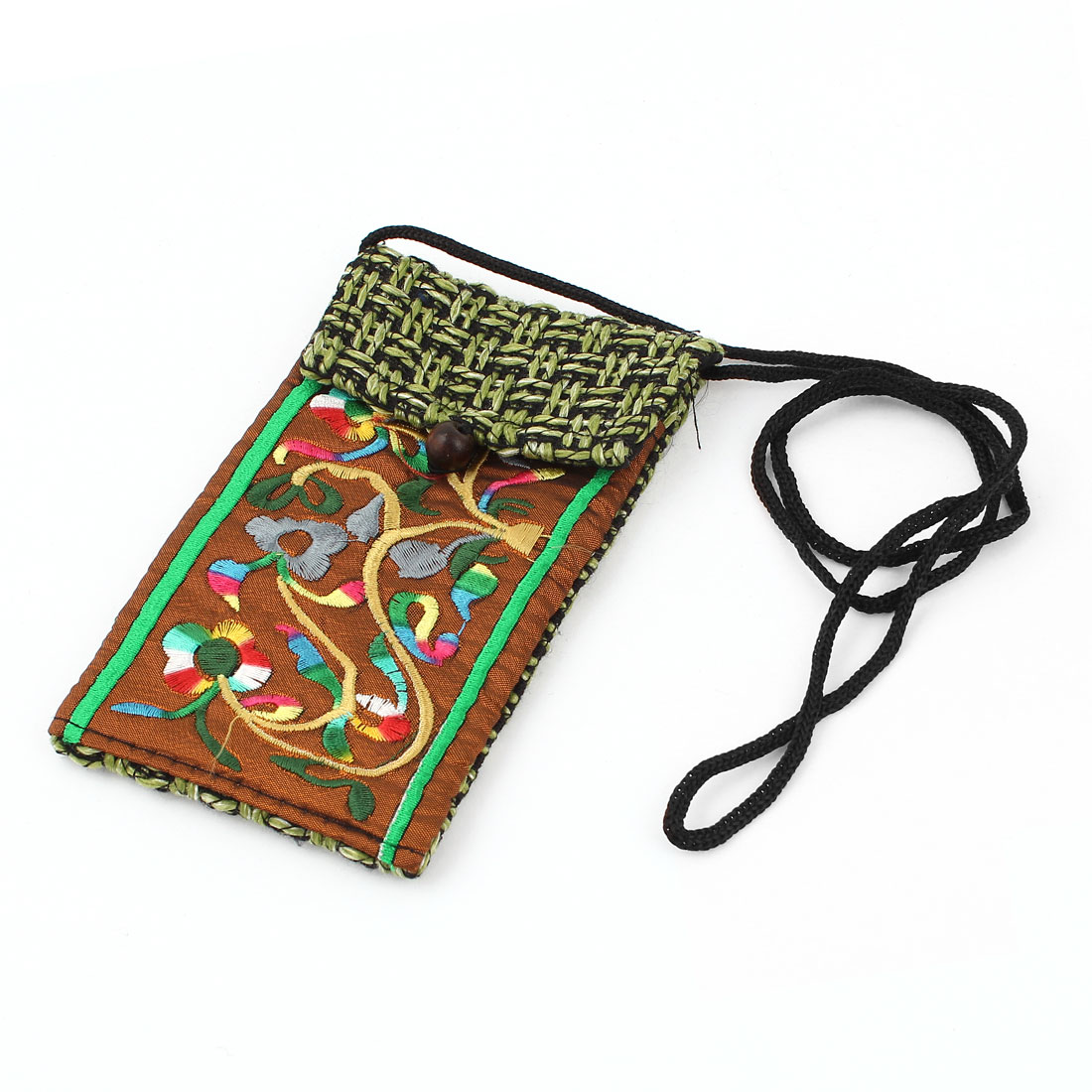 Green Coffee Color Embroidery Floral Pattern Hand Strap Knitting Smartphone Pouch Bag