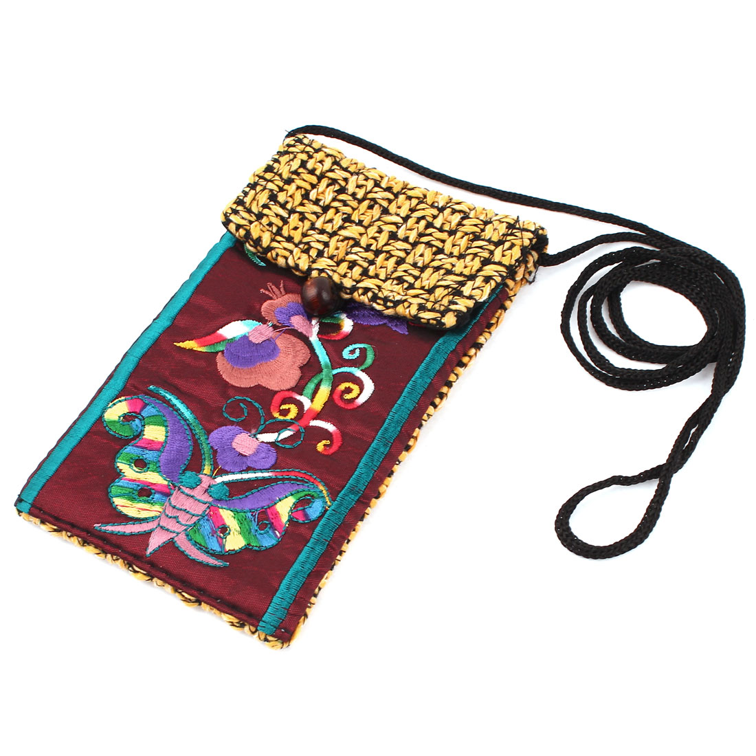 Yellow Burgundy Embroidery Floral Butterfly Pattern Hand Strap Knitting Smartphone Pouch Bag