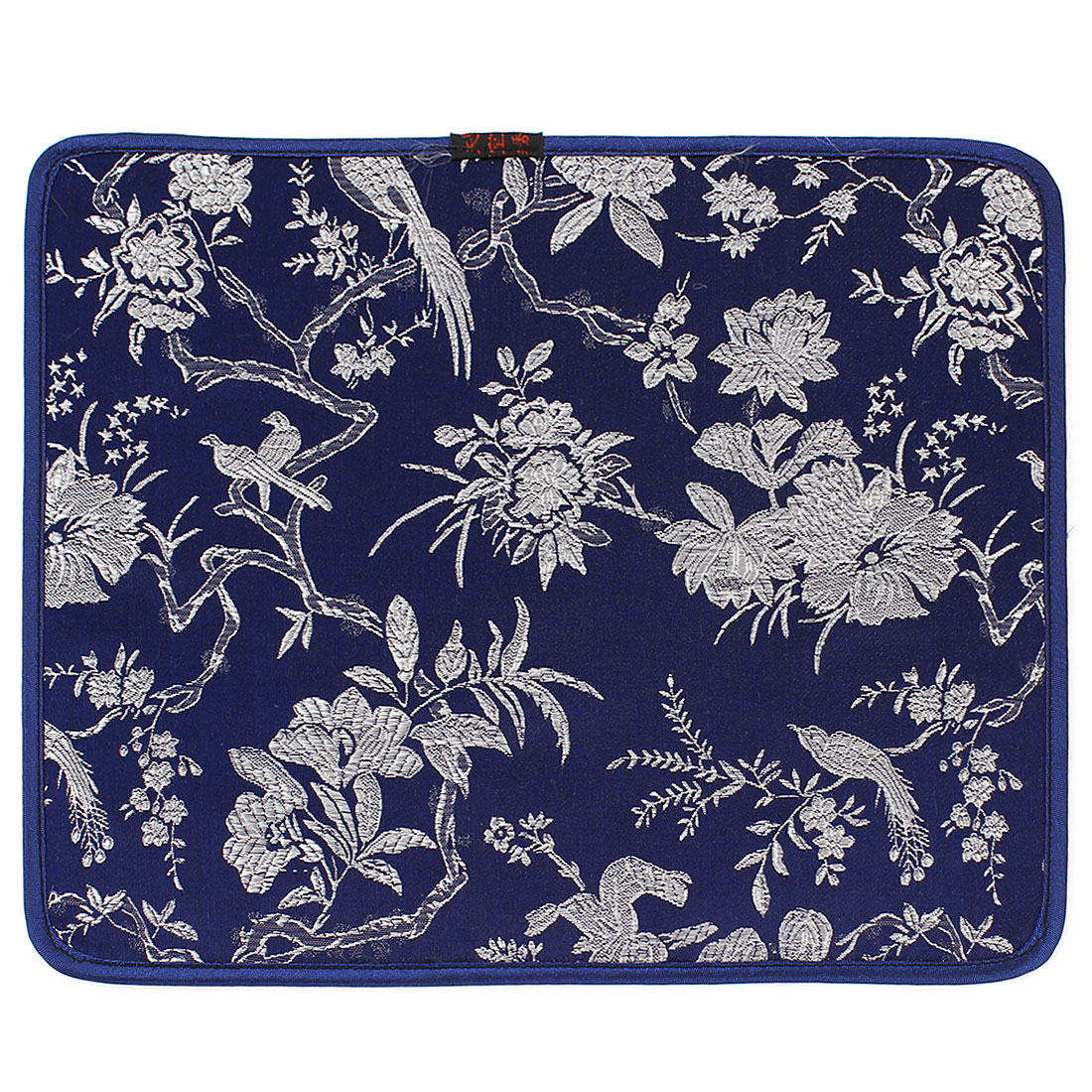 Dark Blue Embroidery Floral Pattern Nonslip Silicone Desktop Computer Mouse Pad Mat