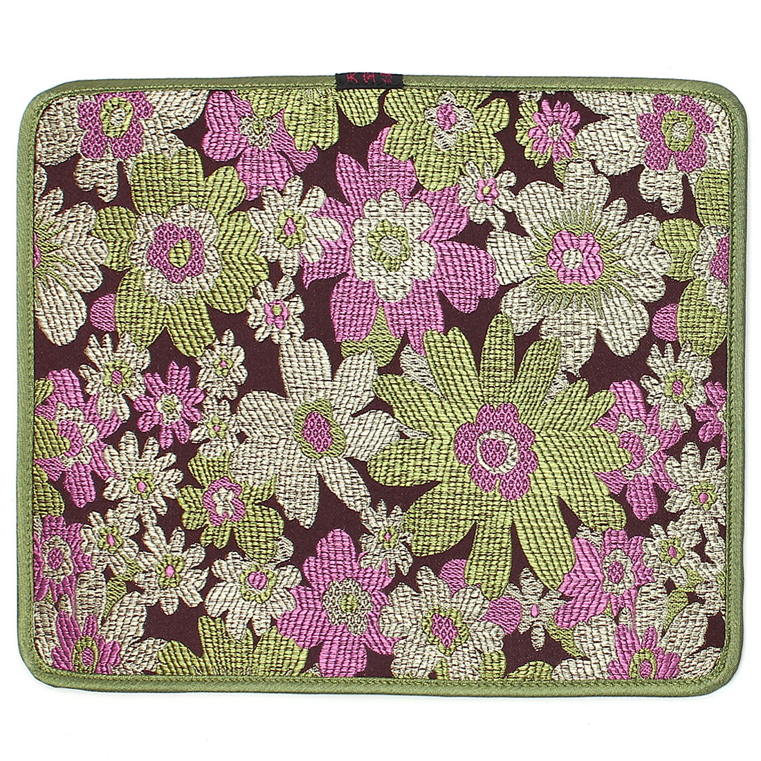 Green Embroidery Floral Pattern Nonslip Silicone Desktop Computer Mouse Pad Mat