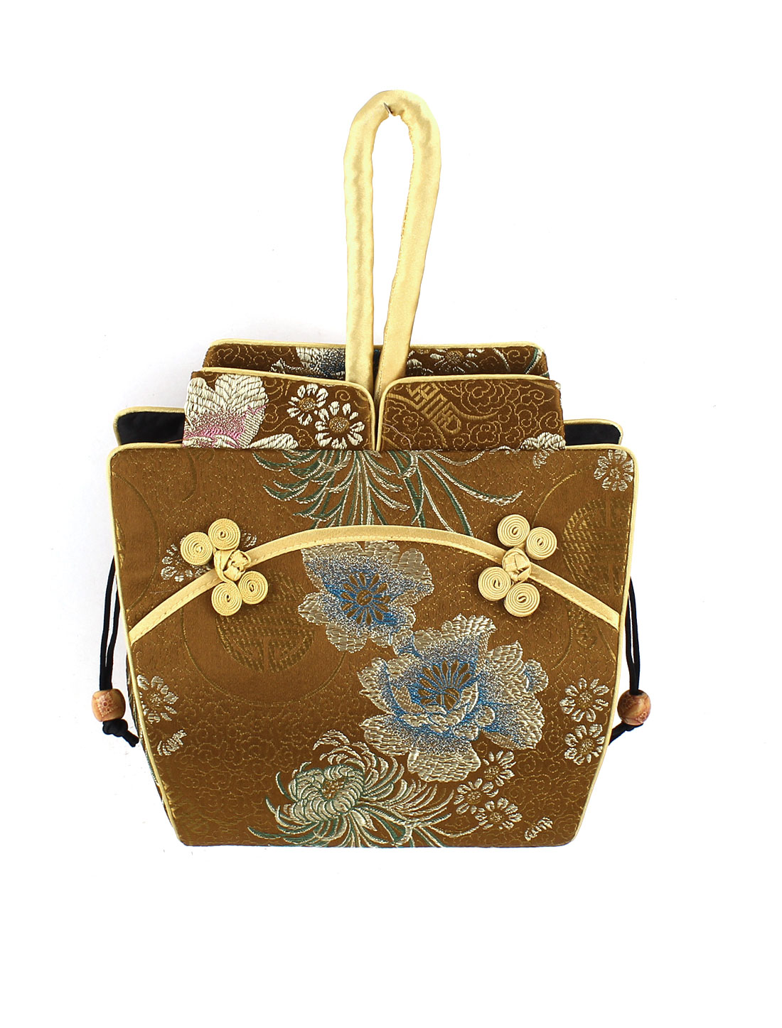 Women Brocade Cheongsam Design Embroidery Flower Pattern Drawstring Closure Handbag Coffee Color