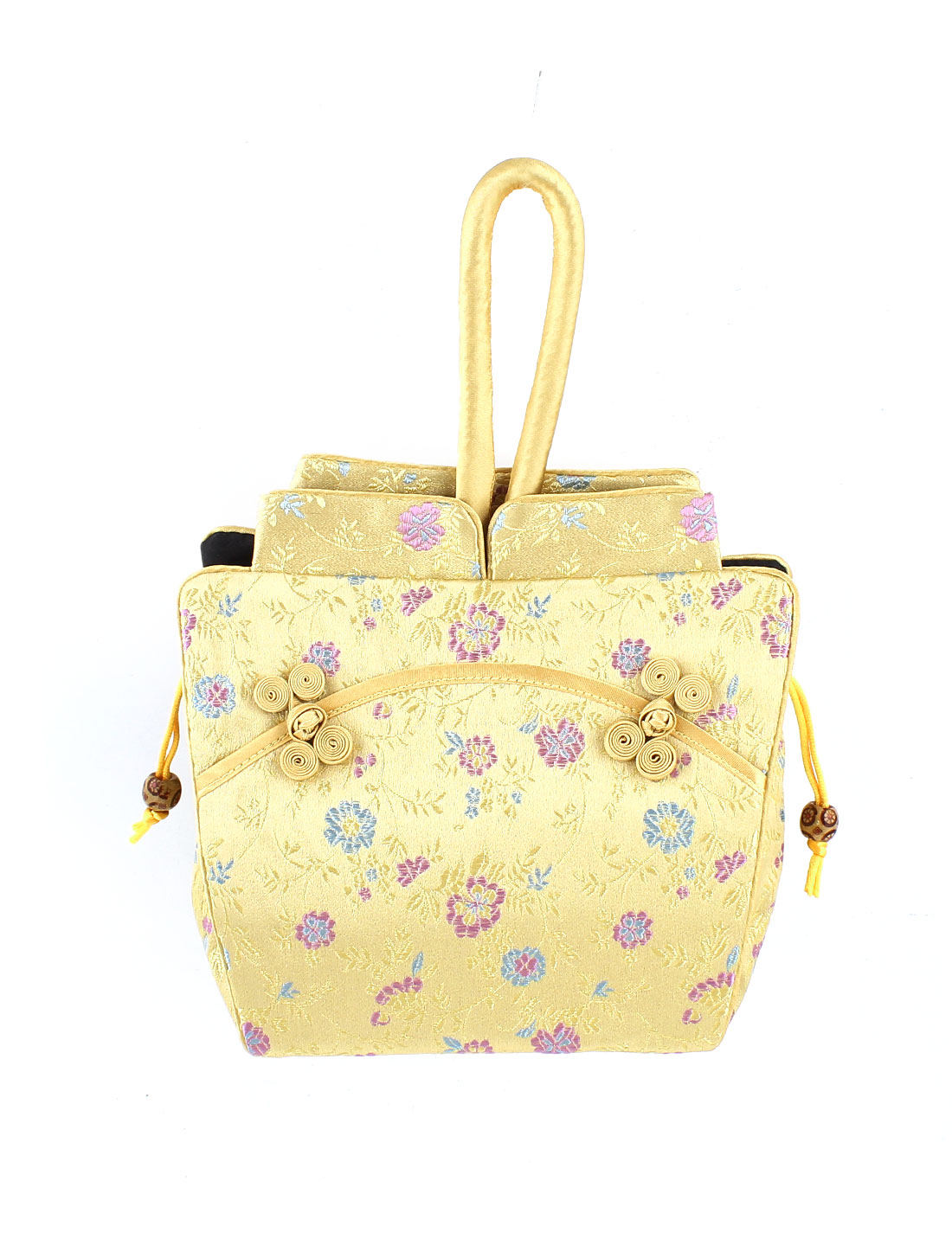Women Brocade Cheongsam Design Embroidery Flower Pattern Drawstring Closure Handbag Yellow