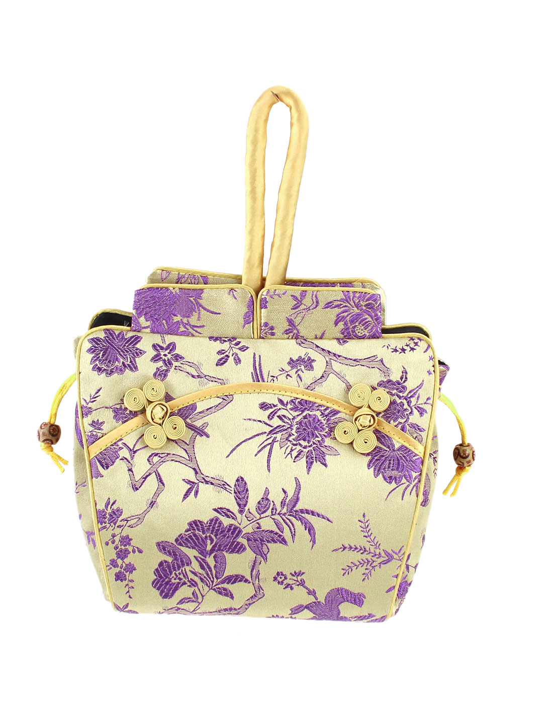 Women Brocade Cheongsam Design Embroidery Flower Pattern Drawstring Closure Handbag Beige Purple