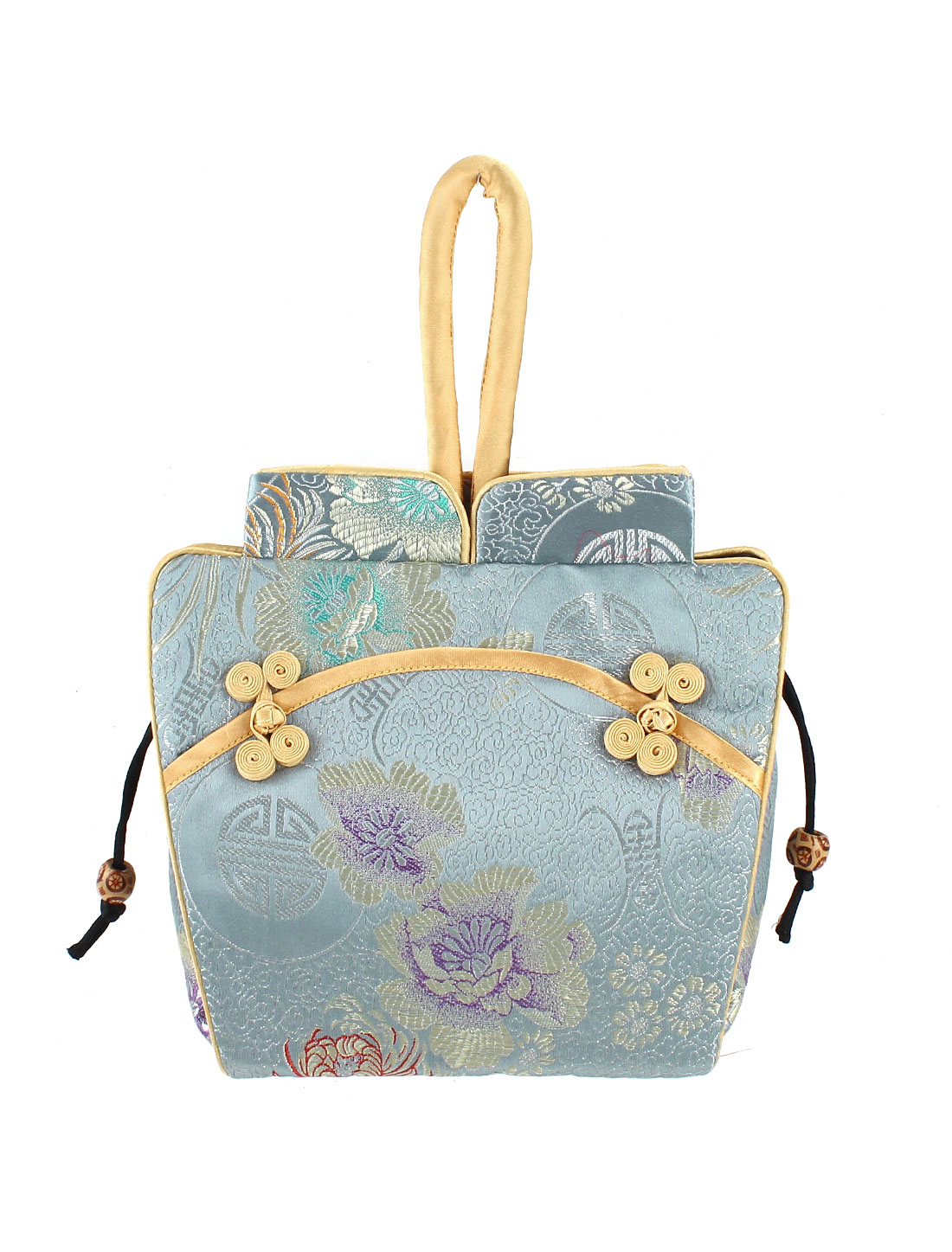 Women Brocade Cheongsam Design Embroidery Flower Pattern Drawstring Closure Handbag Purse Light Blue