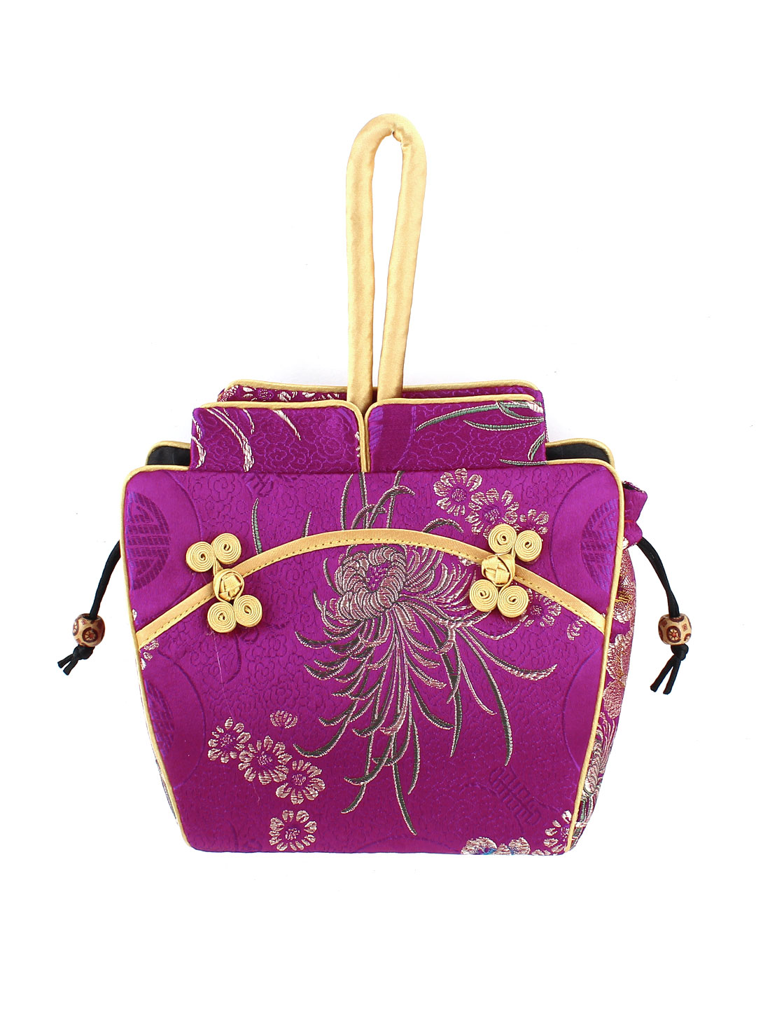 Women Brocade Cheongsam Design Embroidery Flower Pattern Drawstring Closure Purse Handbag Amaranth