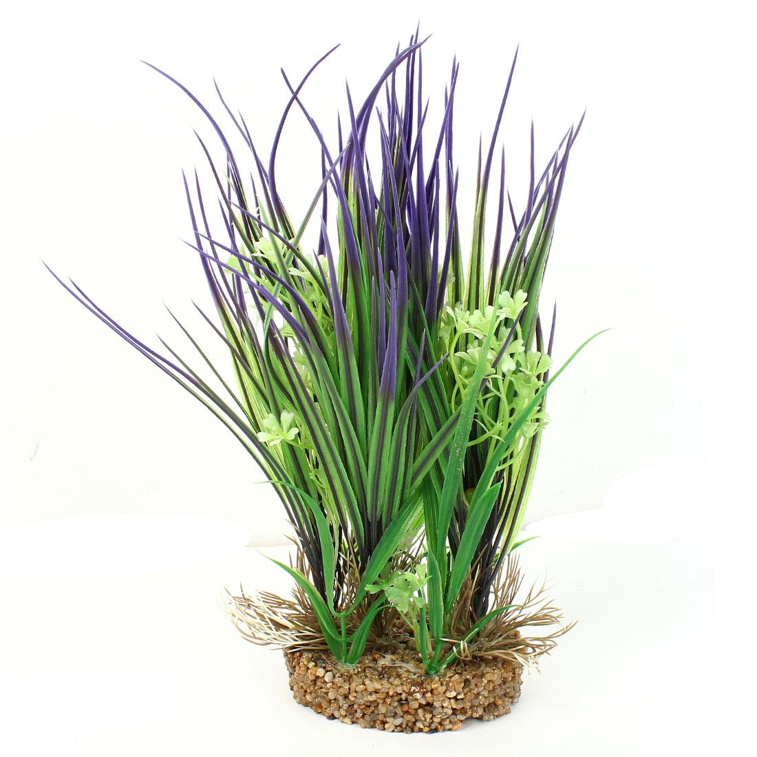 """11"""" High Plastic Fish Tank Emulation Flower Detail Underwater Grass Green Purple"""