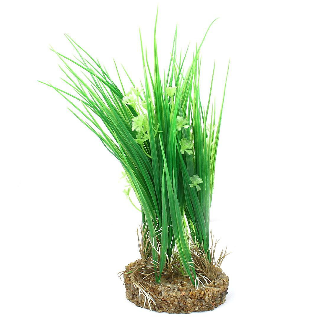 """11.8"""" High Plastic Fish Tank Emulation Flower Detail Underwater Grass Green"""