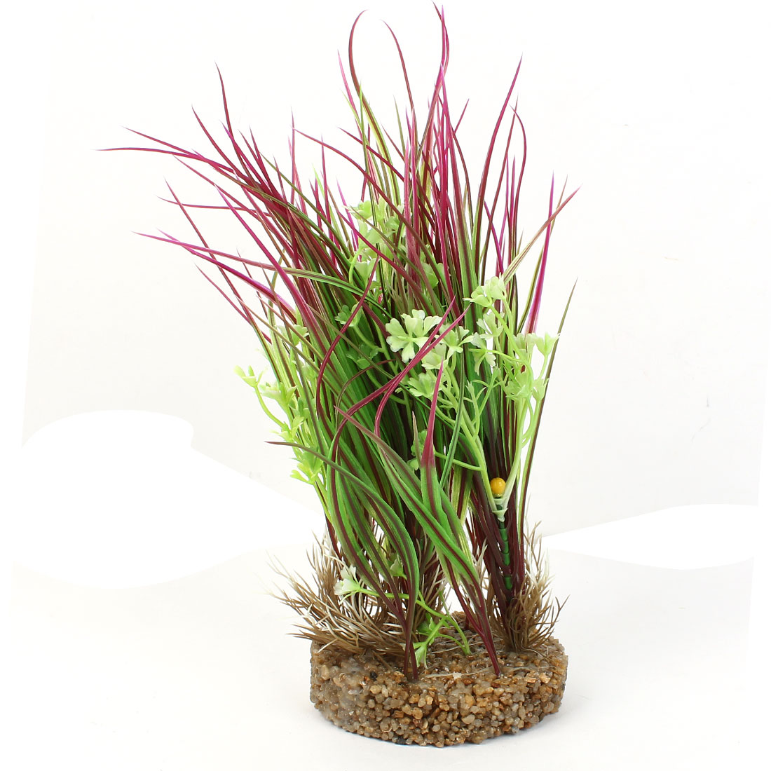 "11.4"" High Plastic Fish Tank Emulation Flower Detail Underwater Grass Green Fuchsia"