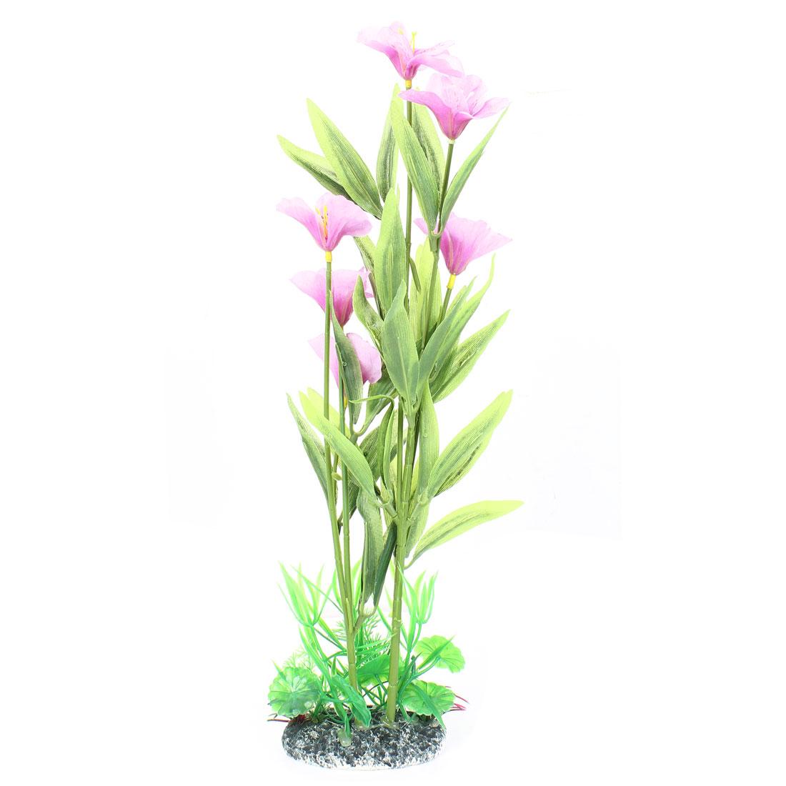 "16"" High Plastic Fish Tank Emulation Flower Detail Underwater Plant Green Purple"