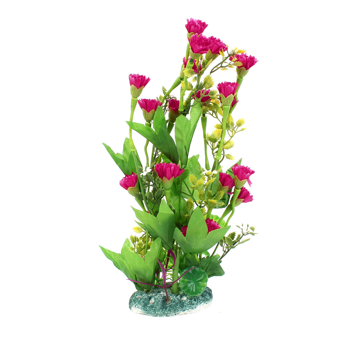 "12.6"" Height Plastic Fish Tank Emulation Flower Detail Underwater Plants Green Fuchsia"