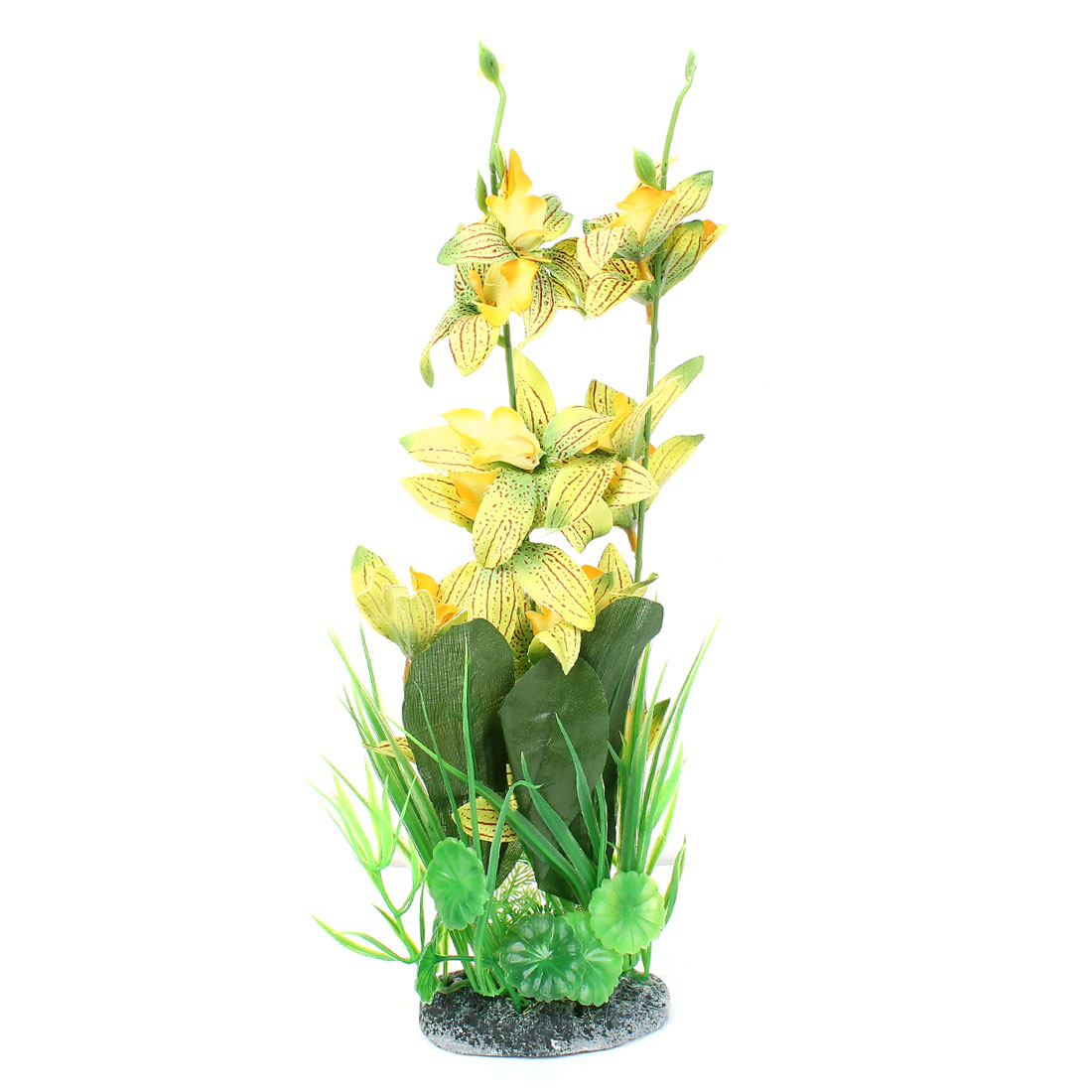 "14.6"" High Plastic Fish Tank Simulational Flower Detail Underwater Plant Green Yellow"