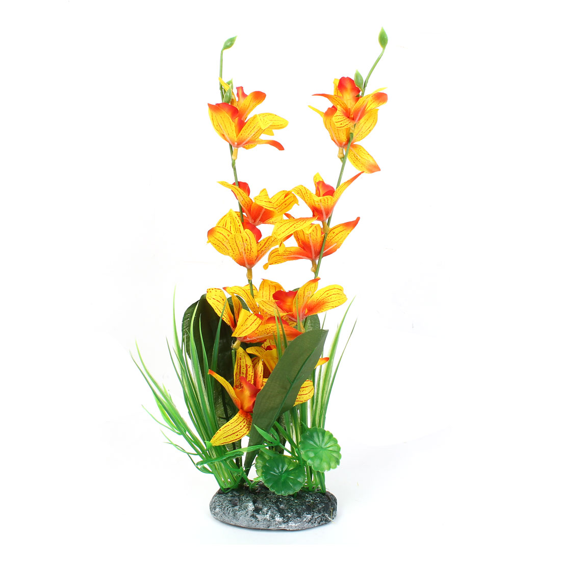 "14.6"" Plastic Fish Tank Emulation Flower Detail Underwater Plant Green Yellow"