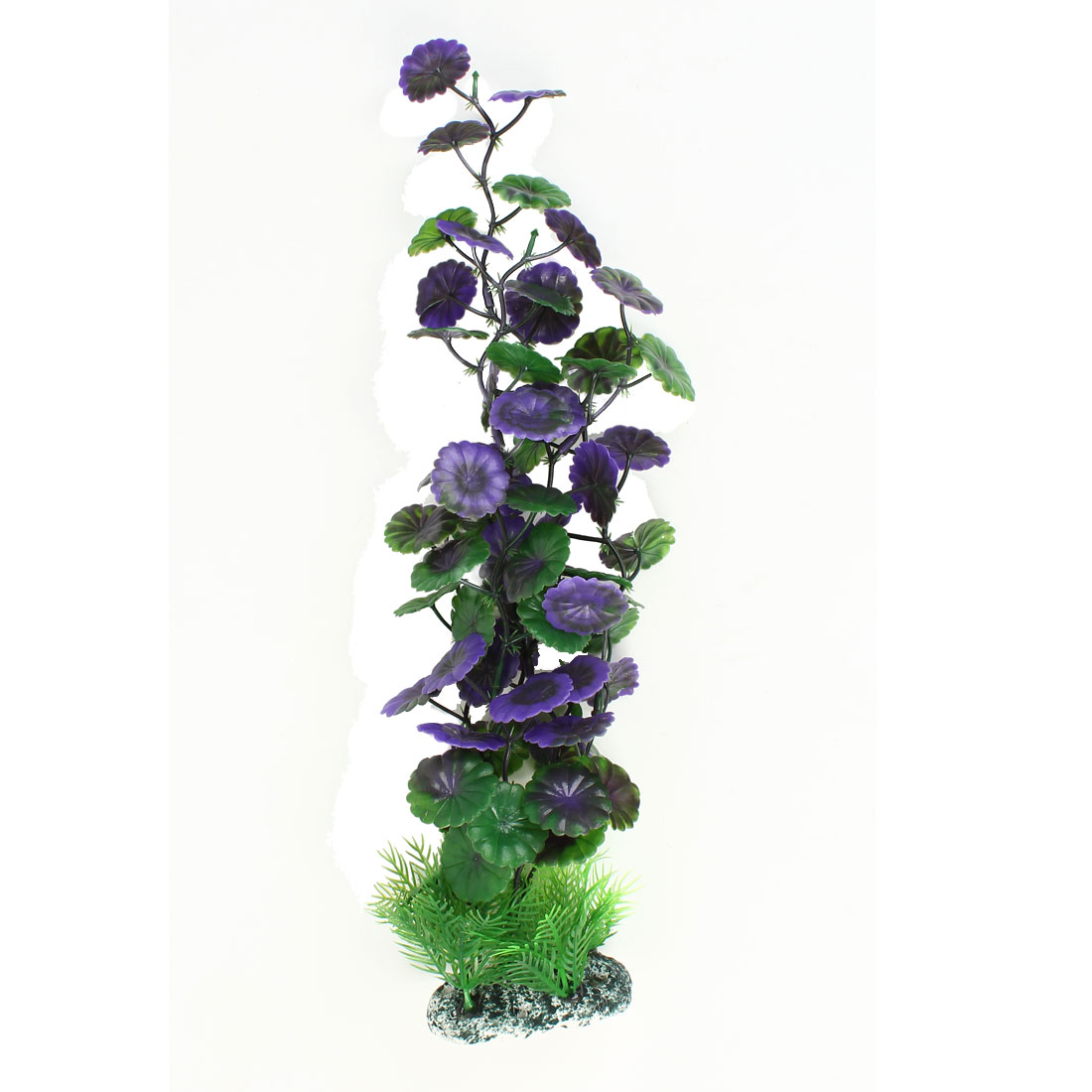 "15"" High Plastic Fish Tank Round Leaf Simulational Aquatic Plants Green Purple"