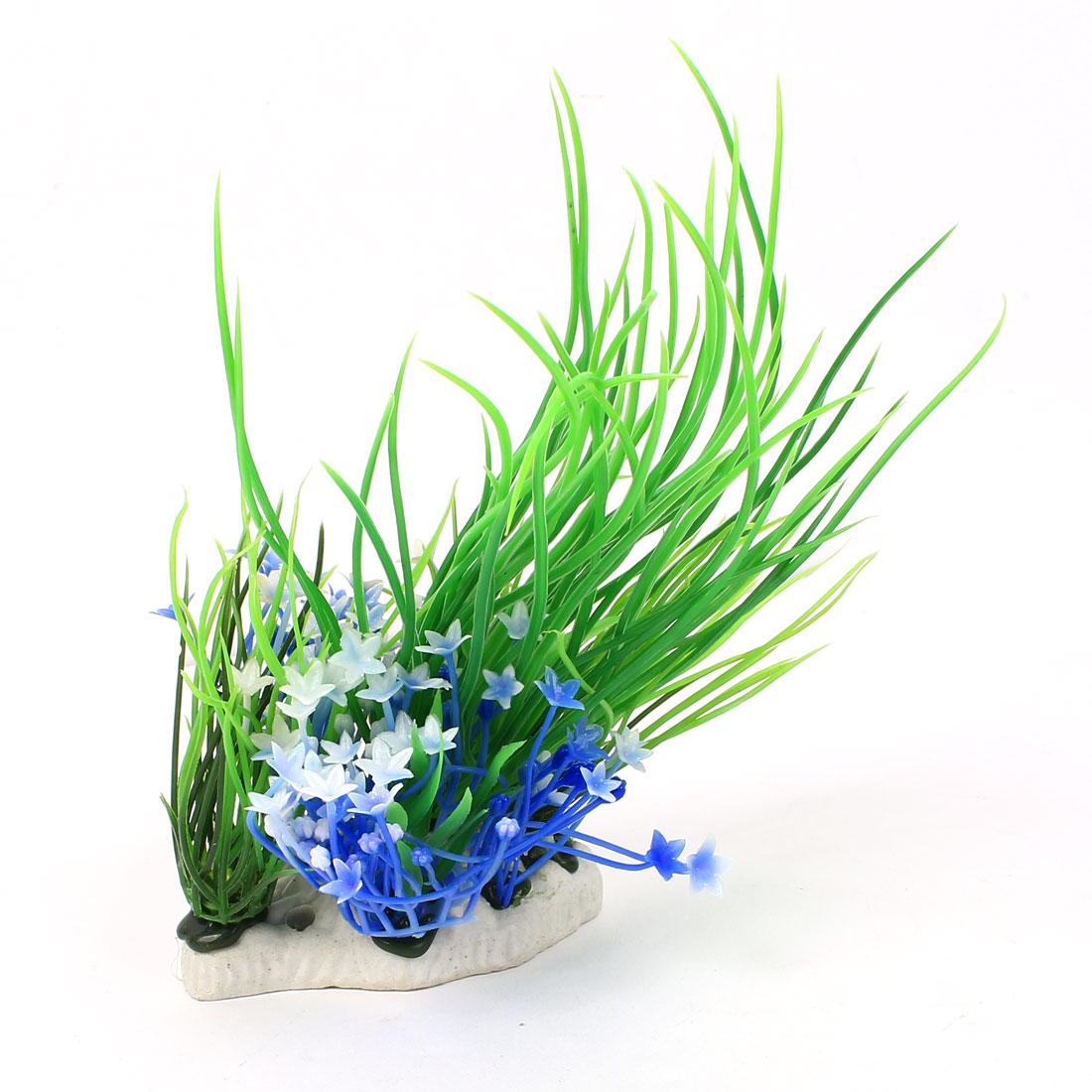 "8"" High Plastic Fish Tank Simulational Flower Detail Underwater Grass Green Blue"
