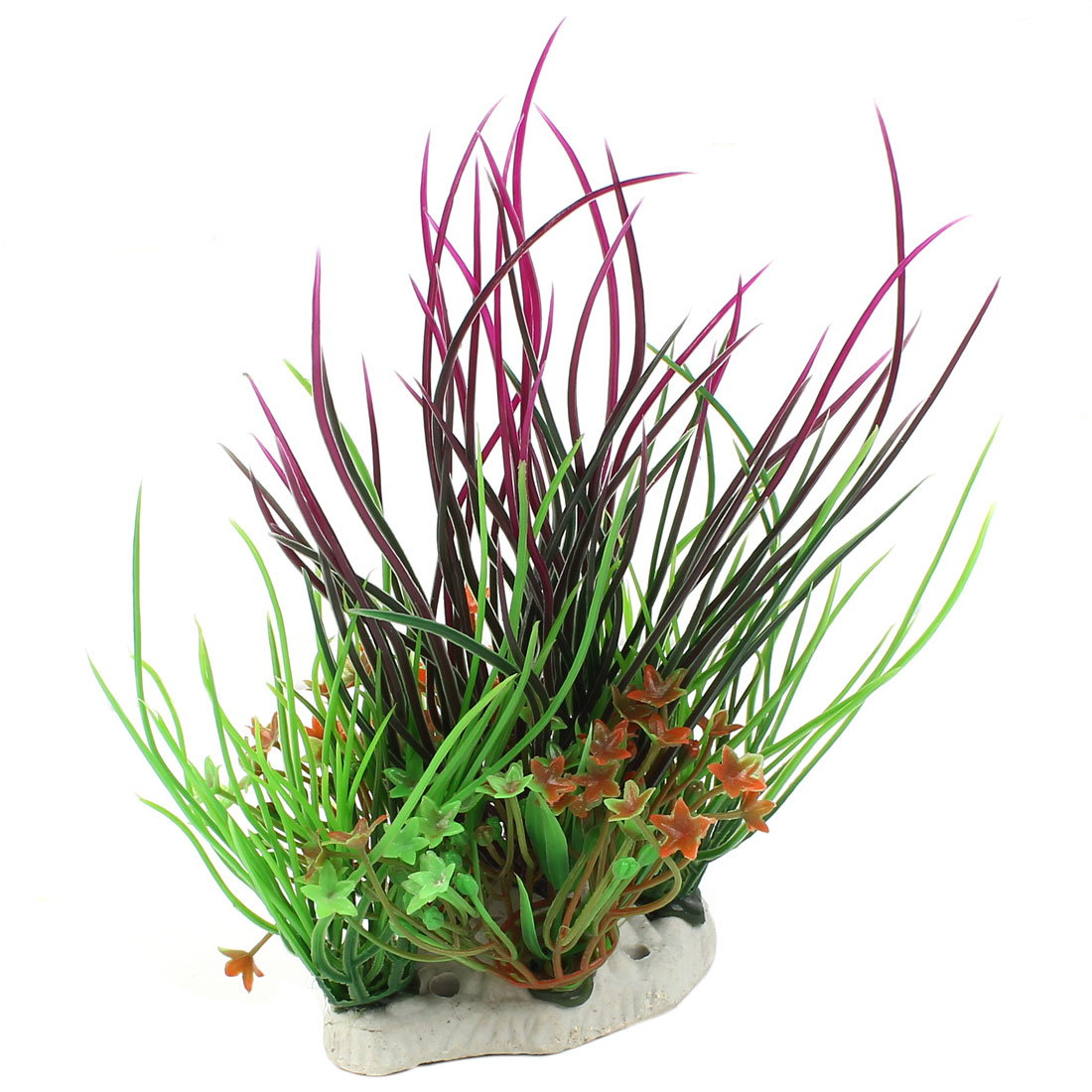 "8"" High Plastic Fish Tank Emulation Flower Detail Underwater Grass Green Fuchsia"