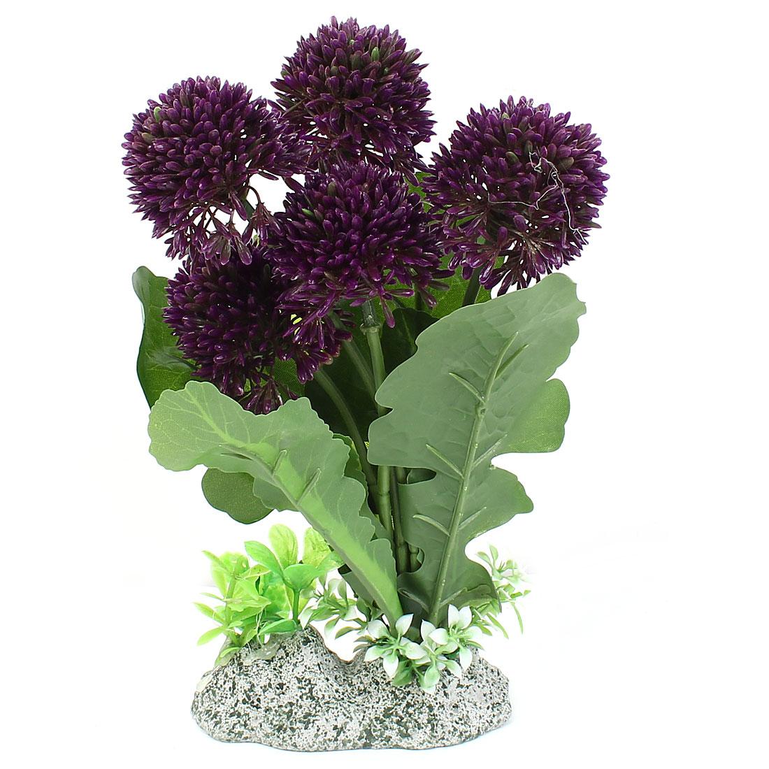 "9"" High Plastic Aquarium Emulation Round Shape Flower Detail Aquatic Plants Green Purple"