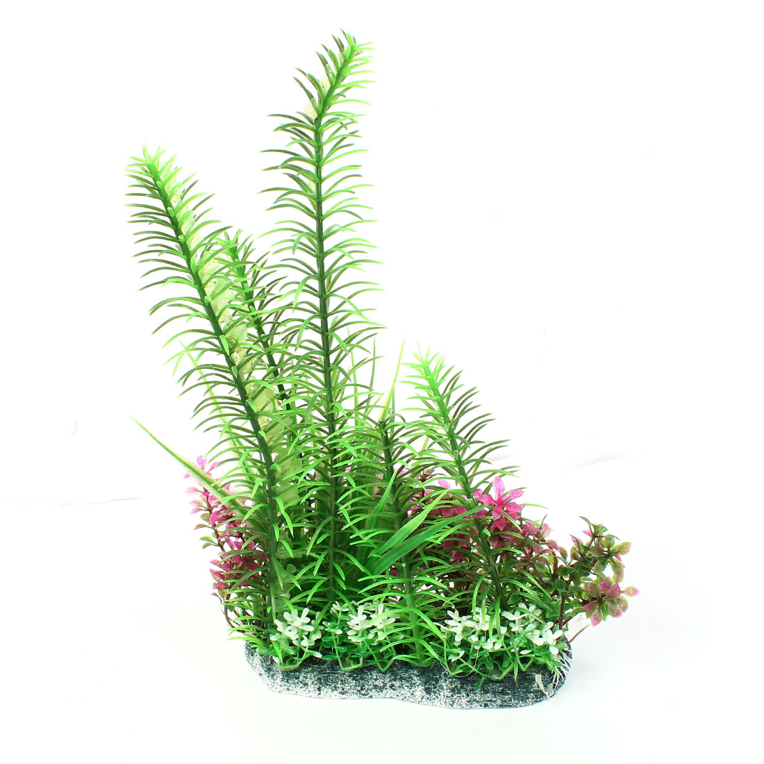 "11.8"" High Plastic Fish Tank Simulational Underwater Grass Plants Green Fuchsia"