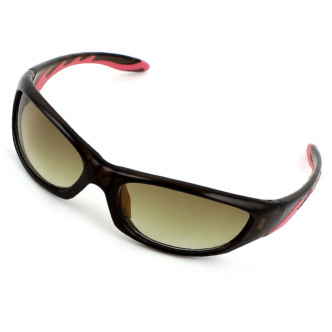 Man Plastic Full Rim Rectangle Lens Glasses Sunglasses Eyewear Brown Red