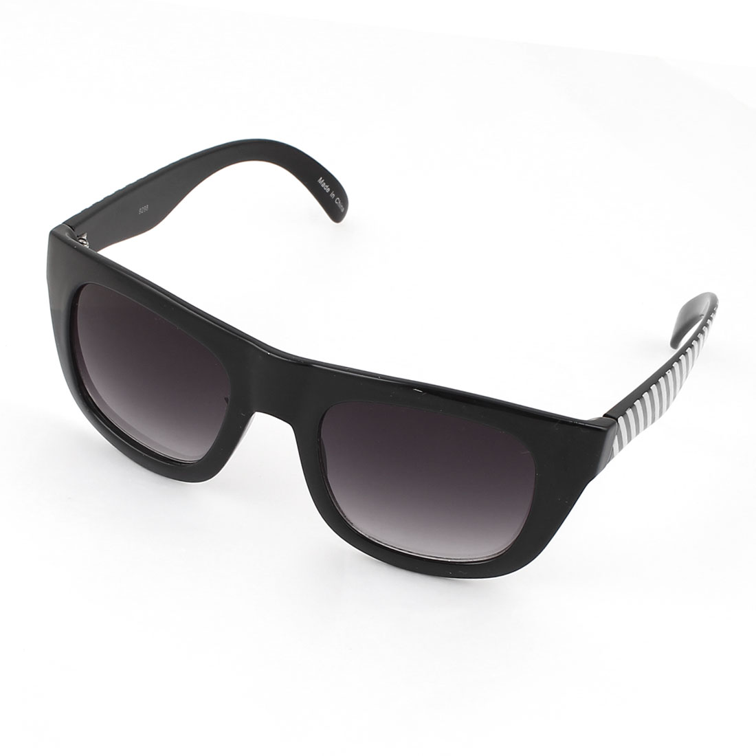 Man Black Plastic Zebra Design Arm Full Rim Square Lens Sunglasses