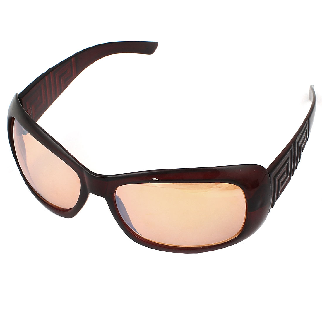 Unisex Plastic Full Rim Round Detail Arm Square Orange Lens Sunglasses Burgundy