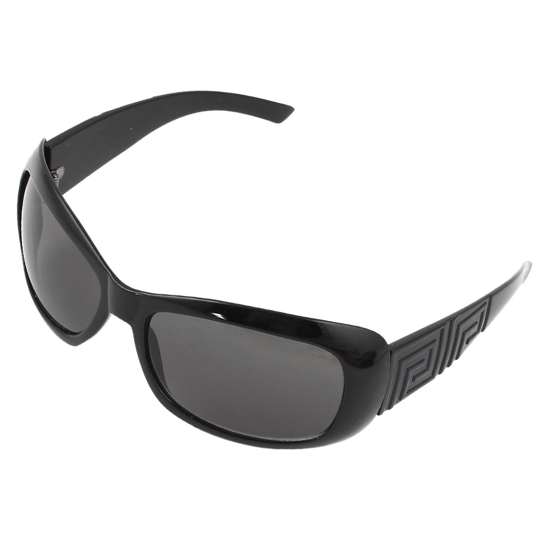 Unisex Black Plastic Full Rim Square Lens Sunglasses Eyewear