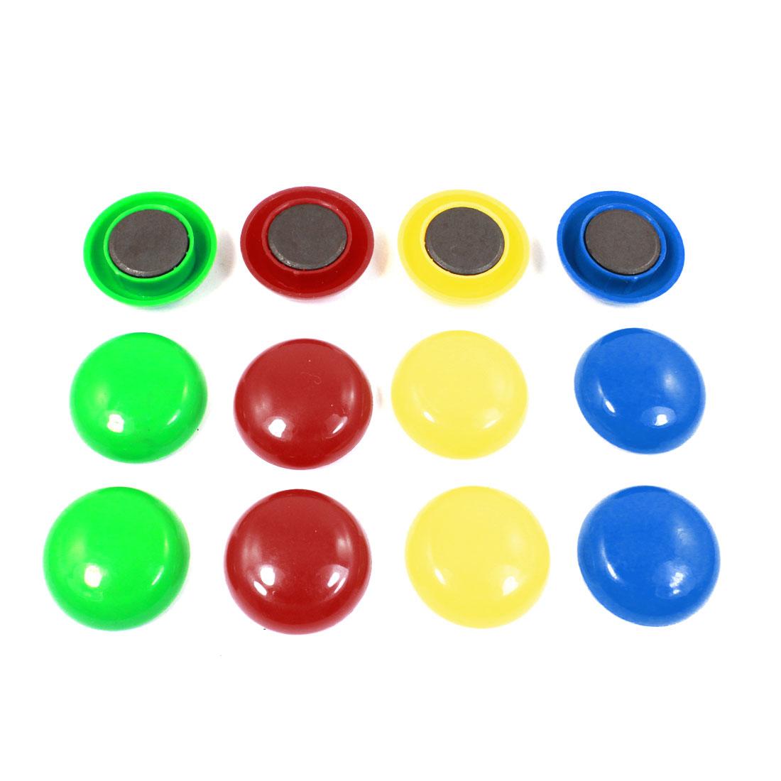 12 Pcs Multicolor Plastic 3cm Dia Cover Washing Machine Fridge Magnets