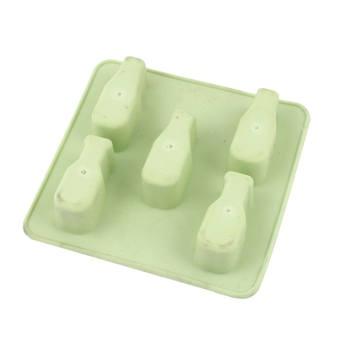 Household 5 Slots Rubber Square Mould Tray Ice Cube Mold Dodger Green