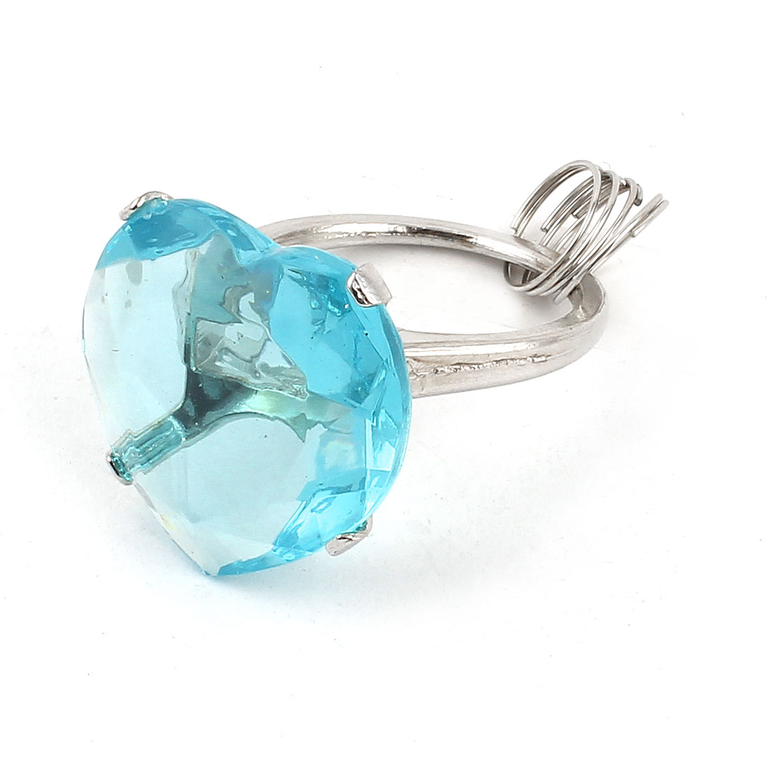 Clear Blue Faux Crystal Accent Plastic Heart Shape Ring Design Keyring Chain