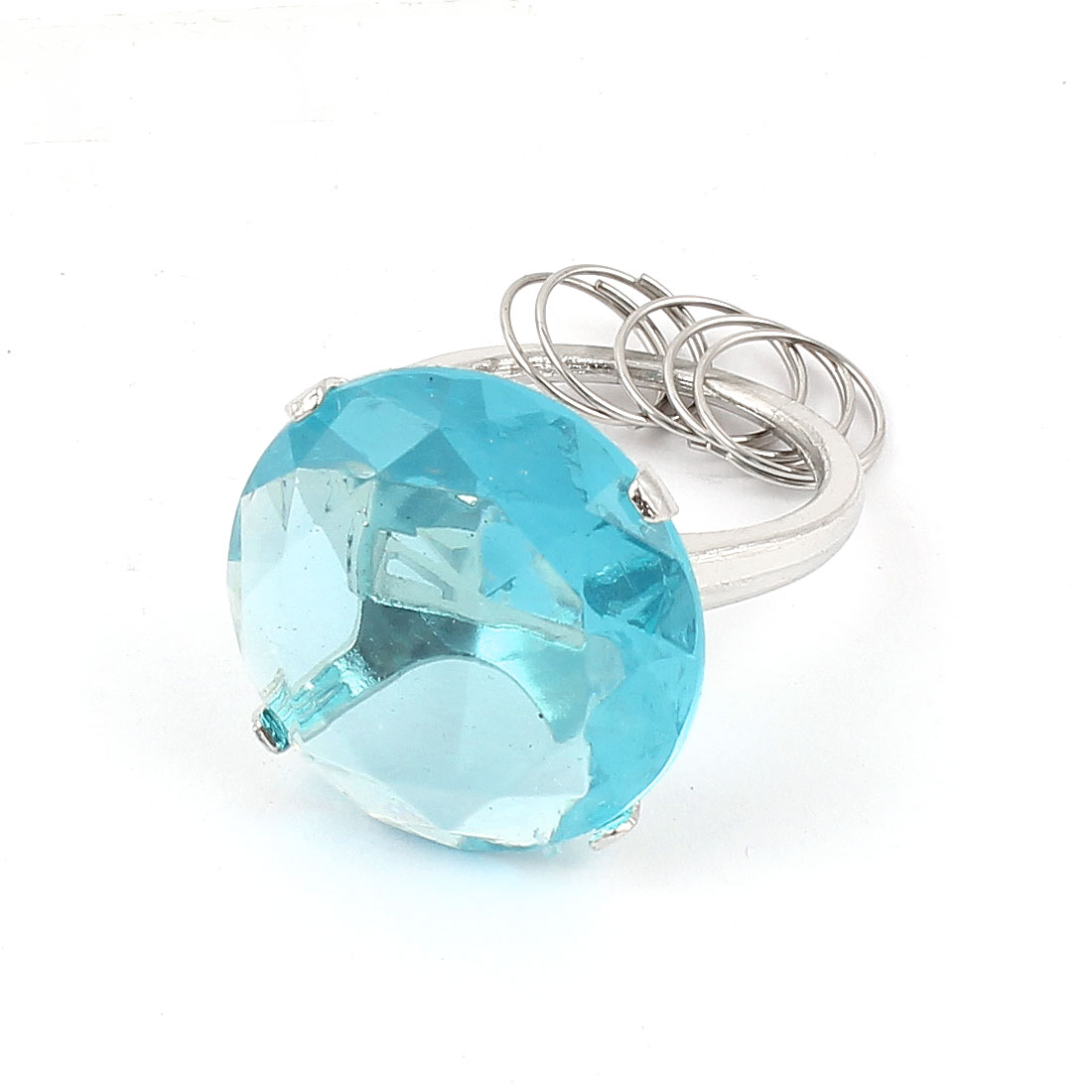 Clear Blue Faux Crystal Accent Circular Shape Ring Design Keyring Chain