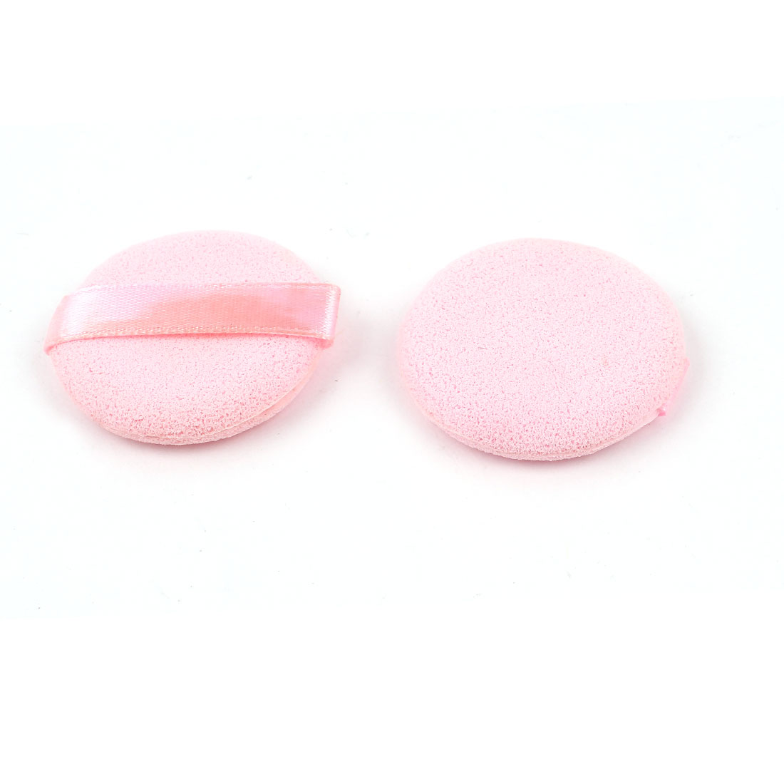 2 Pcs 4cm Dia Circle Shaped Pink Sponge Powder Puff Pad Neat Pat for Lady