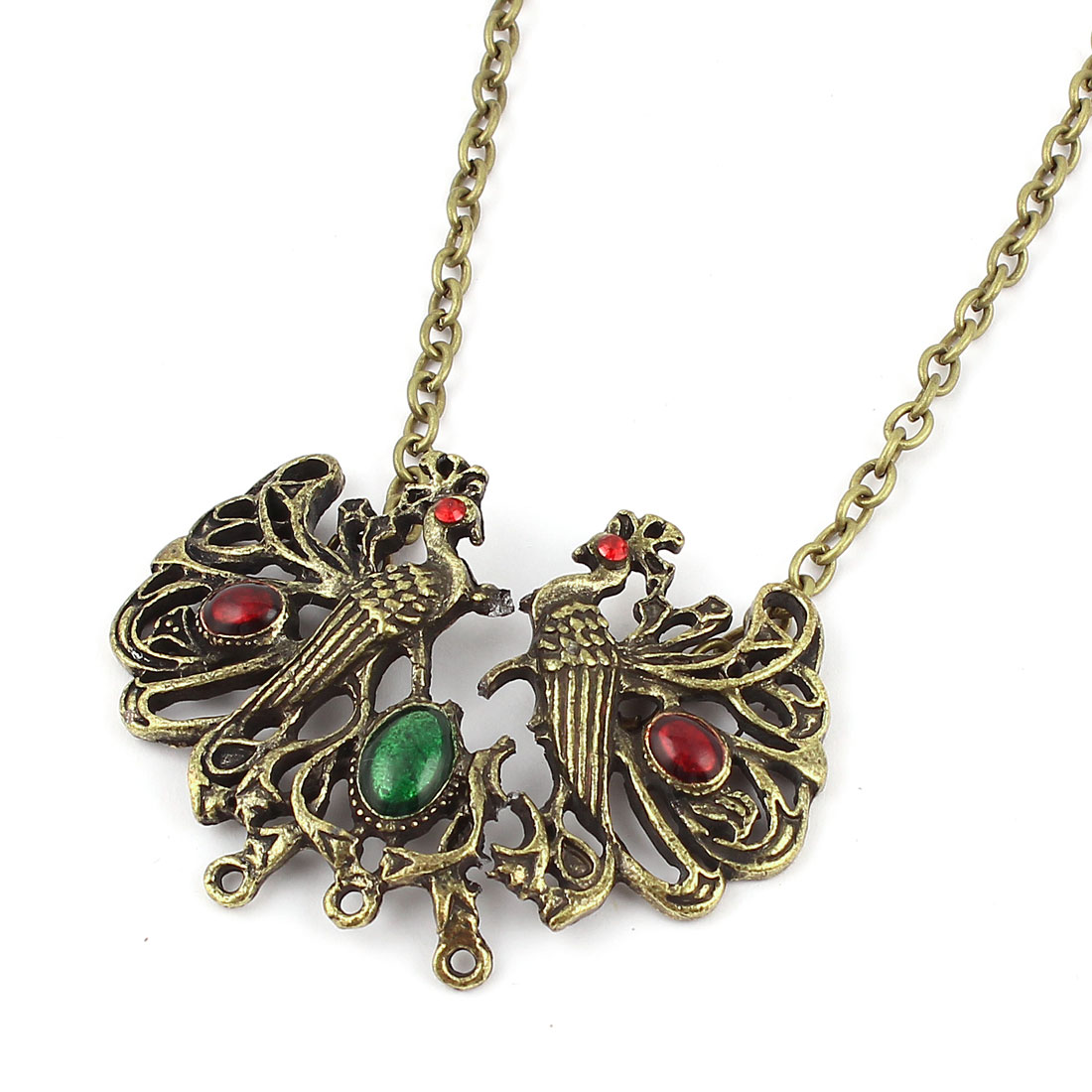 Bronze Tone Peacock Shaped Beads Detail Metal Chain Sweater Necklace