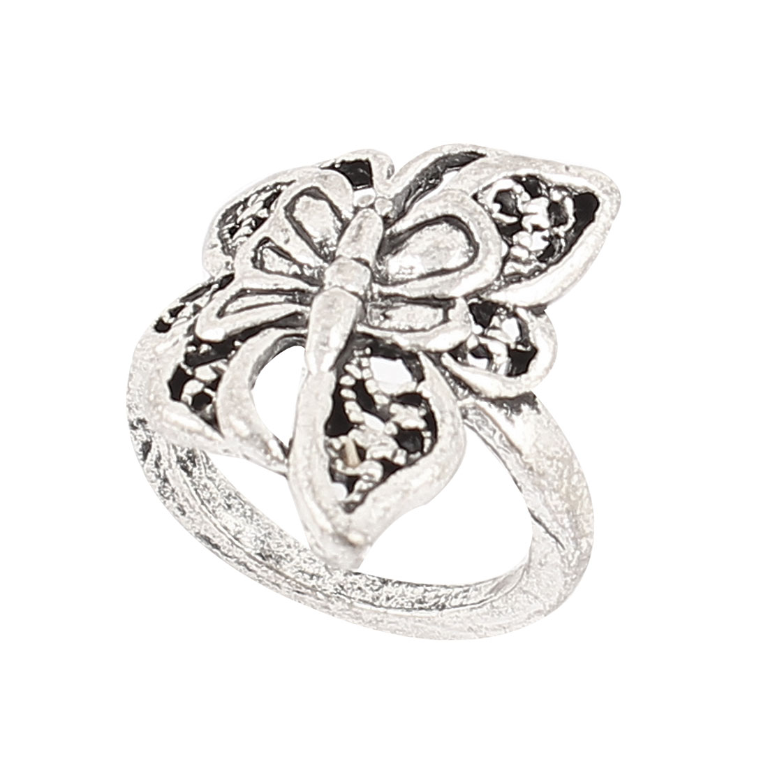 Silver Tone Metal Butterfly Shape Decor Finger Ring US 6 1/2 for Lady