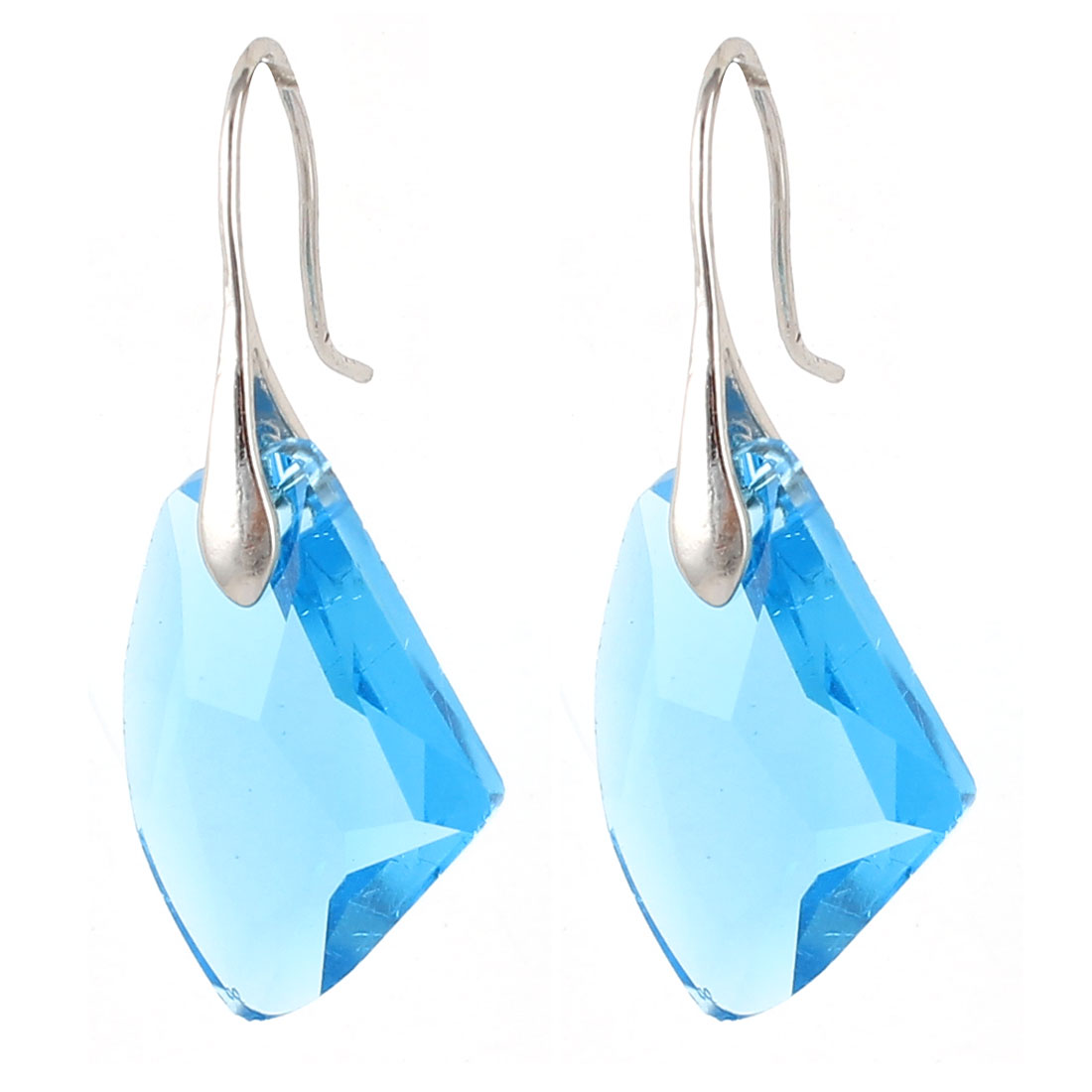 Clear Blue Faux Crystal Ornament Fish Hook Earrings Earbob Pair for Lady Women