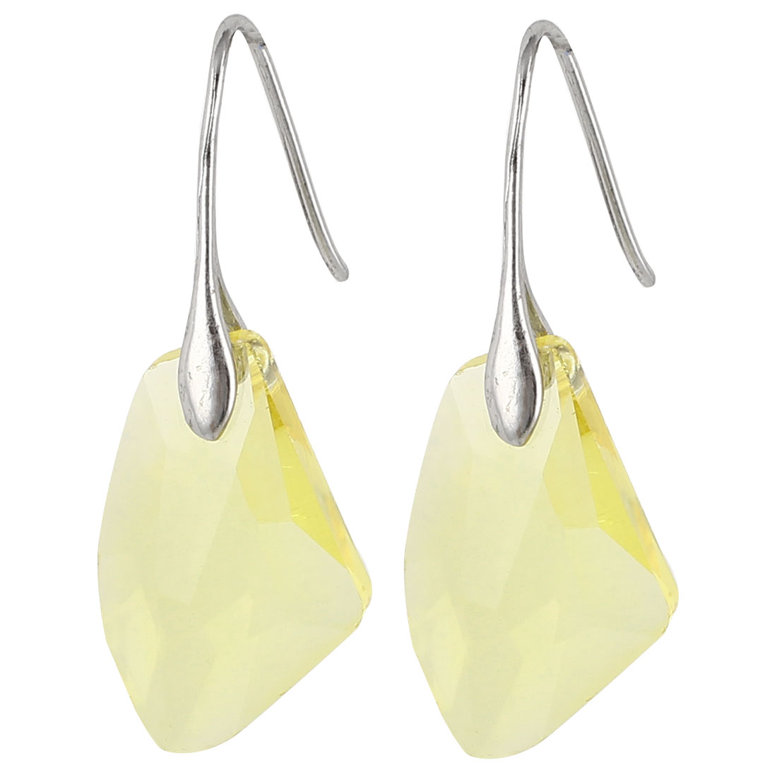 Clear Yellow Faux Crystal Ornament Fish Hook Earrings Earbob Pair for Lady Women