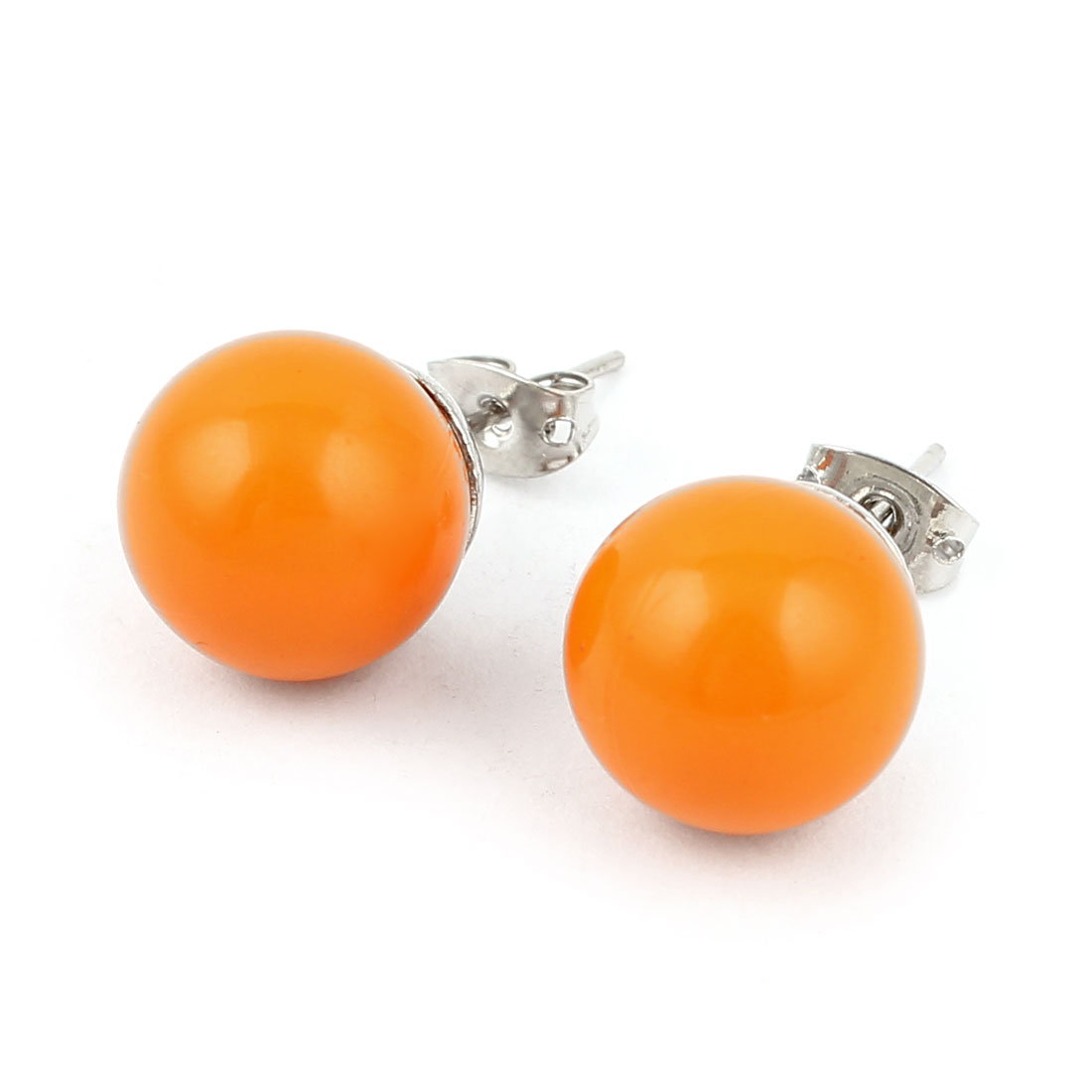 Lady Orange Plastic Candy Ball Round Bead Decor Pierced Ear Stud Pin Ear Nail Earrings Earbobs Pair