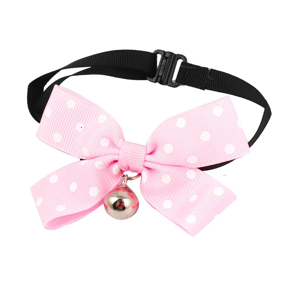Metal Bell Pendant Bowtie Accent Pet Dog Adjustable Belt Collar Necklace Pink Black