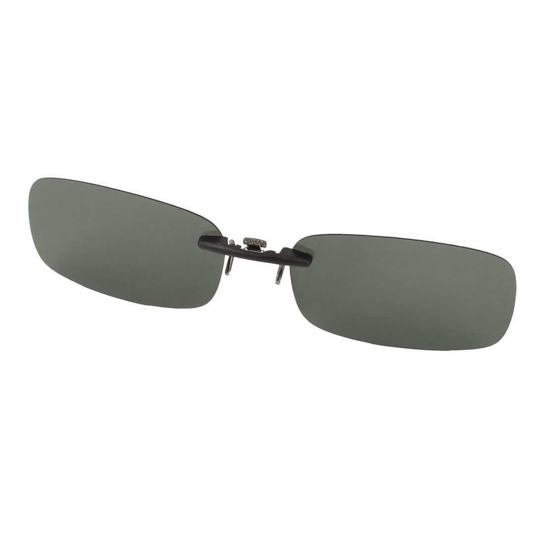 Unisex Rectangle Frameless Dark Green Polarized Lens Clip on Sunglasses