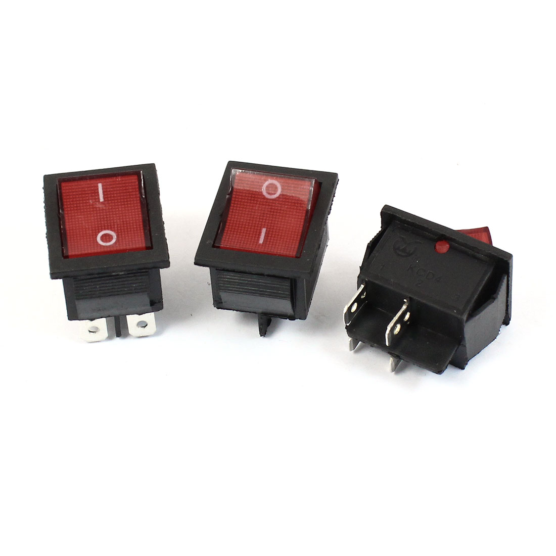 AC 220V 15A 4Pin DPST ON/OFF Red Indicator Lamp Rocker Switch 3 Pcs