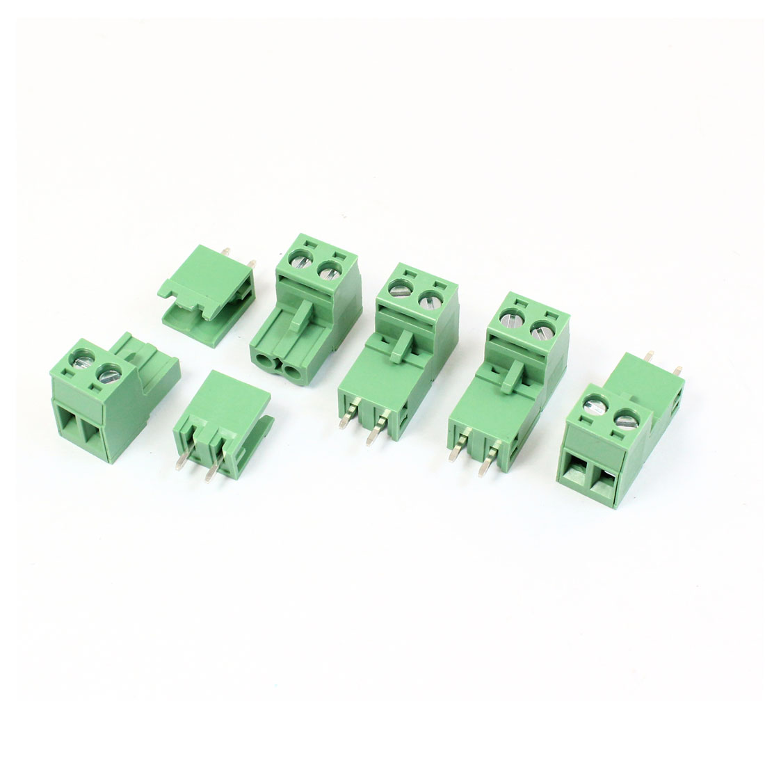5 Pcs Green KF2EDG 3.81mm 2Position Right Angle 2Pin Pluggable Screw Terminal Block Connector 300V 10A