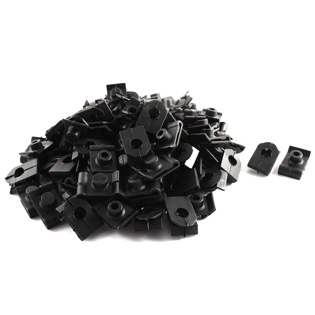 100 Pcs Auto Car Black 9mm Hole Door Fender Plastic U Clips Screws Fasteners
