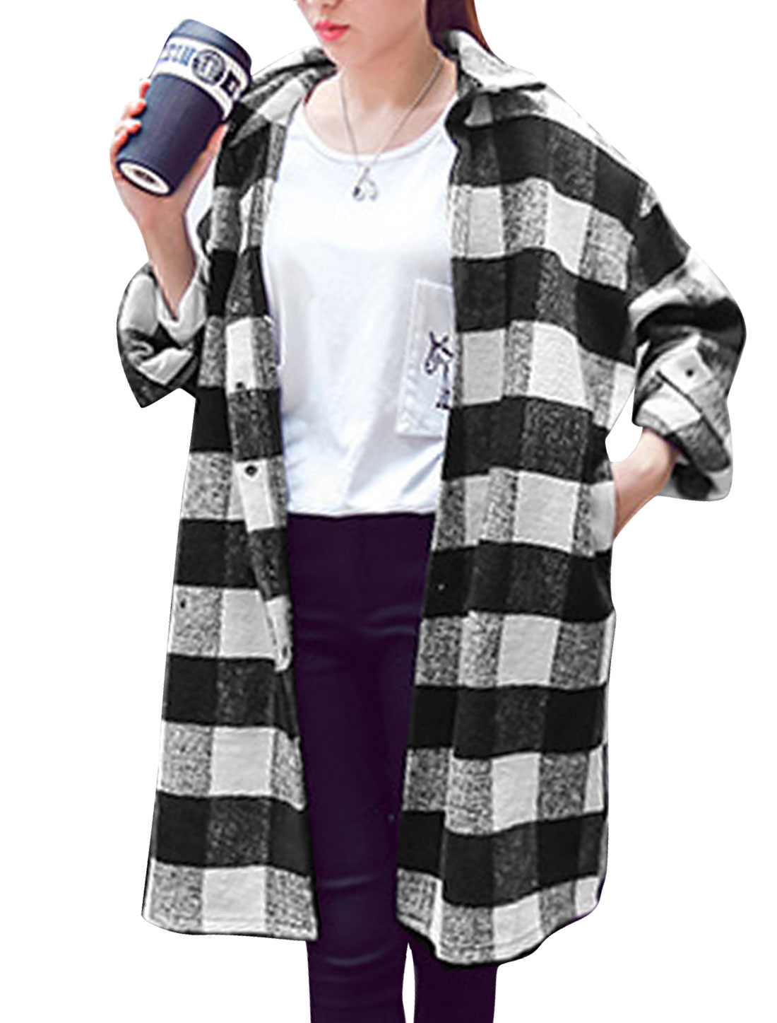 Ladies Black White Turn-down Collar Long Sleeves Plaids Single Breasted Casual Trench Coat L