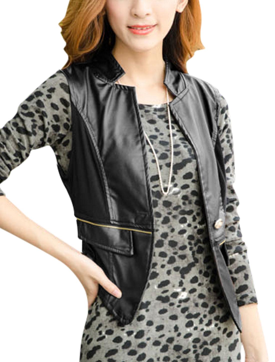 Lady Button Closure Spliced Applique Back Imitation Leather Gilet Black XS