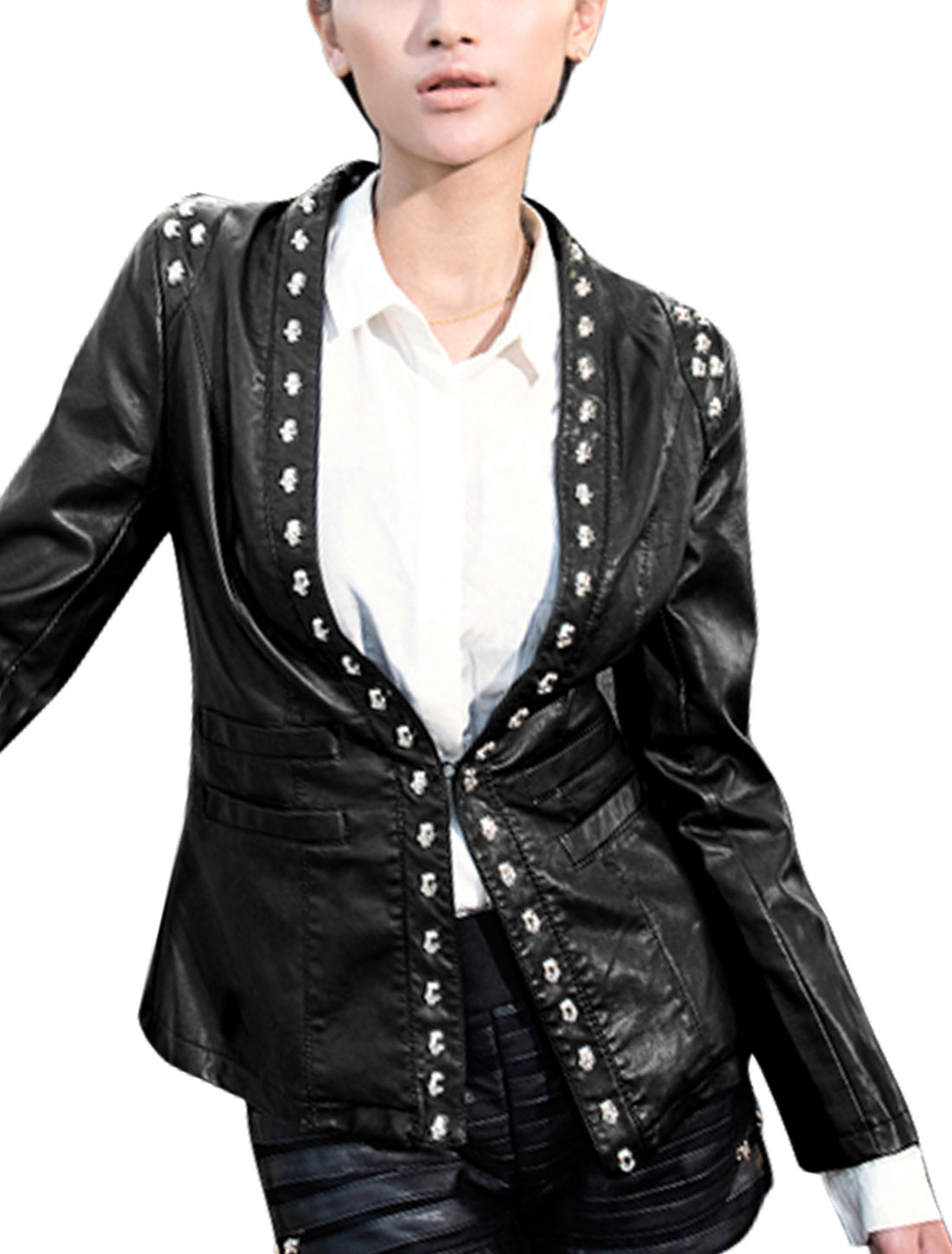 Women Studs Decor Hidden Hook Eye Closure Imitation Leather Jacket Black S