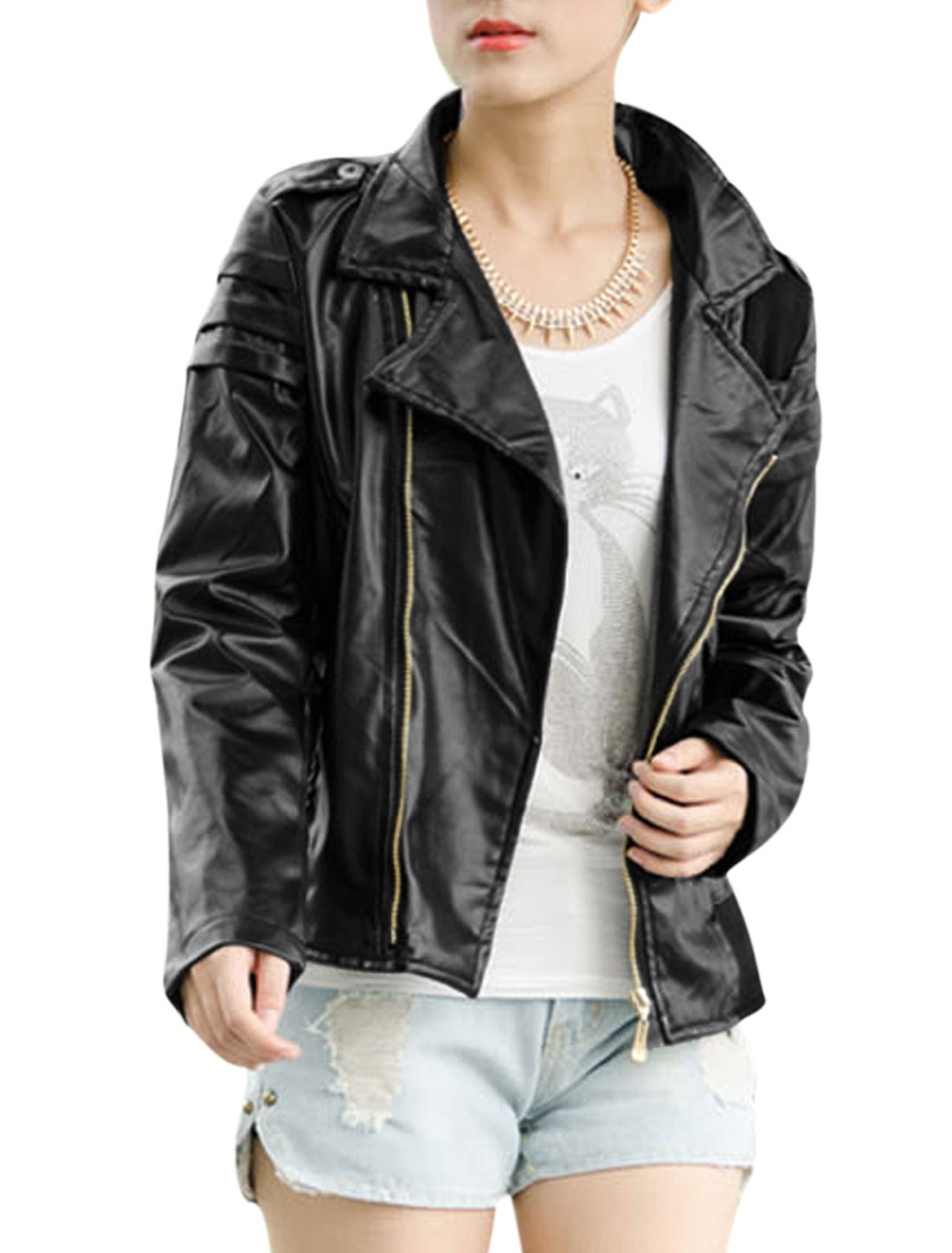Women Zip Up Front Flap Decor Spliced Imitation Leather Jacket Black S