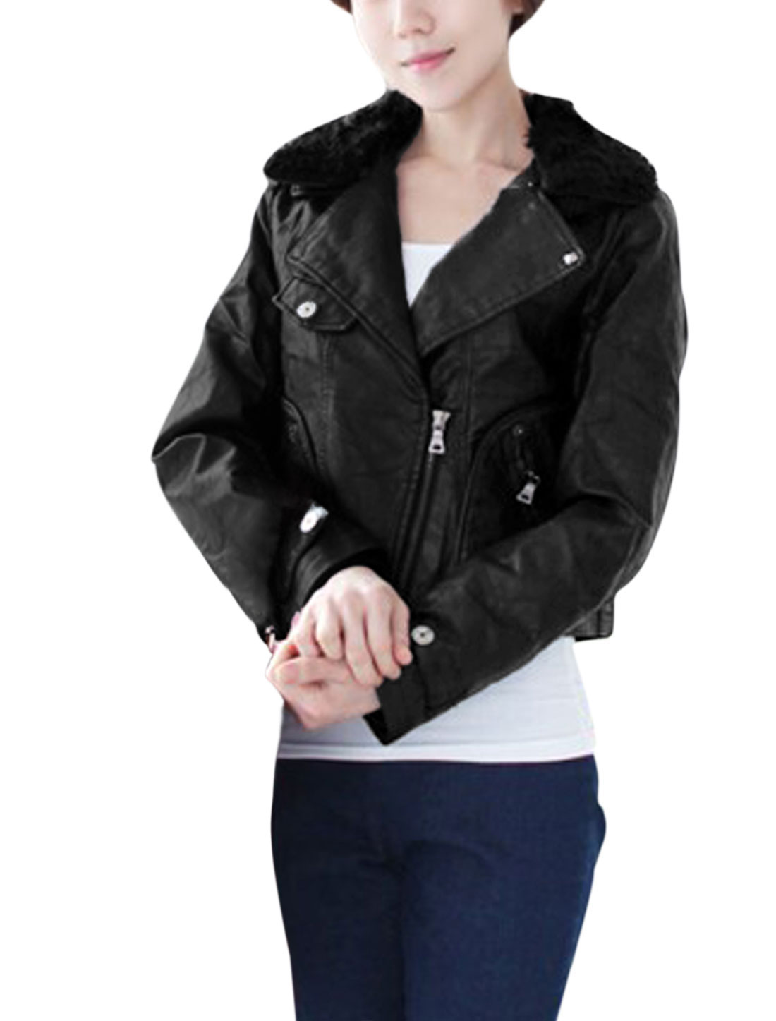 Women Zip Up Imitation Leather Jacket w Removable Spliced Collar Black M