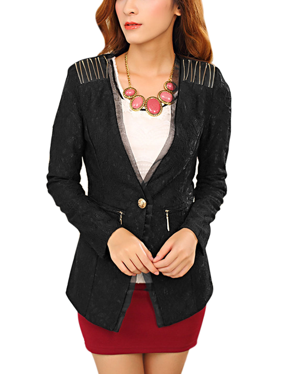 Women Button Closure Zippers Decor Mock Pocket Slim Lace Blazer Black S