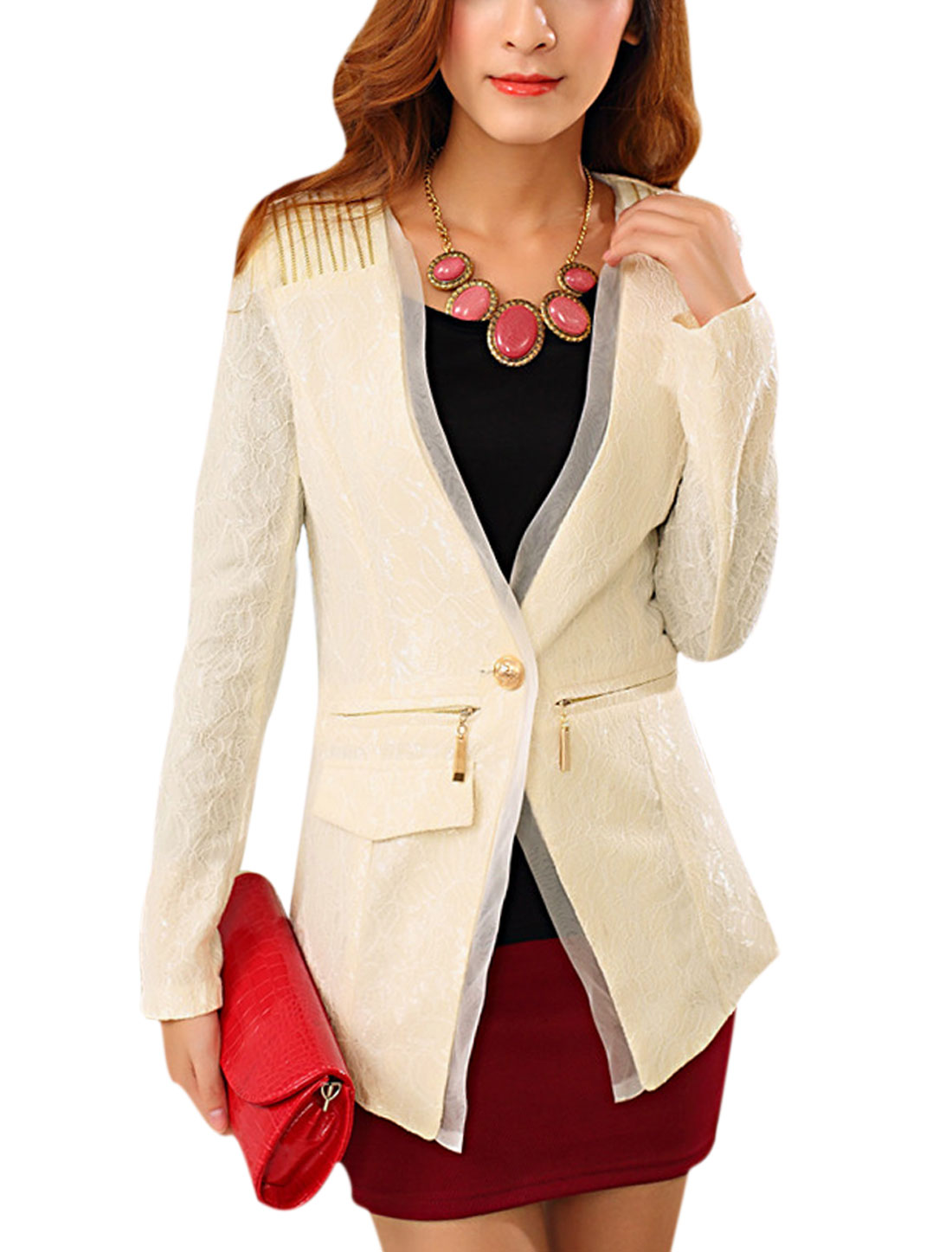 Lady Button Closure Asymmetric Hem Long Sleeve Lace Blazer Beige S
