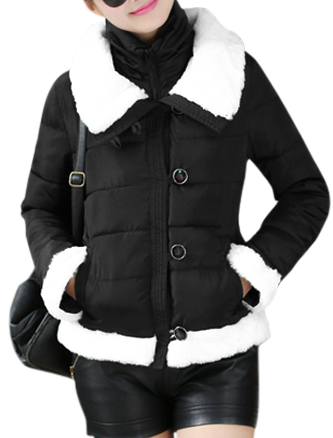 Women Convertible Collar Zip Up Button Closed Padded Coat Black M