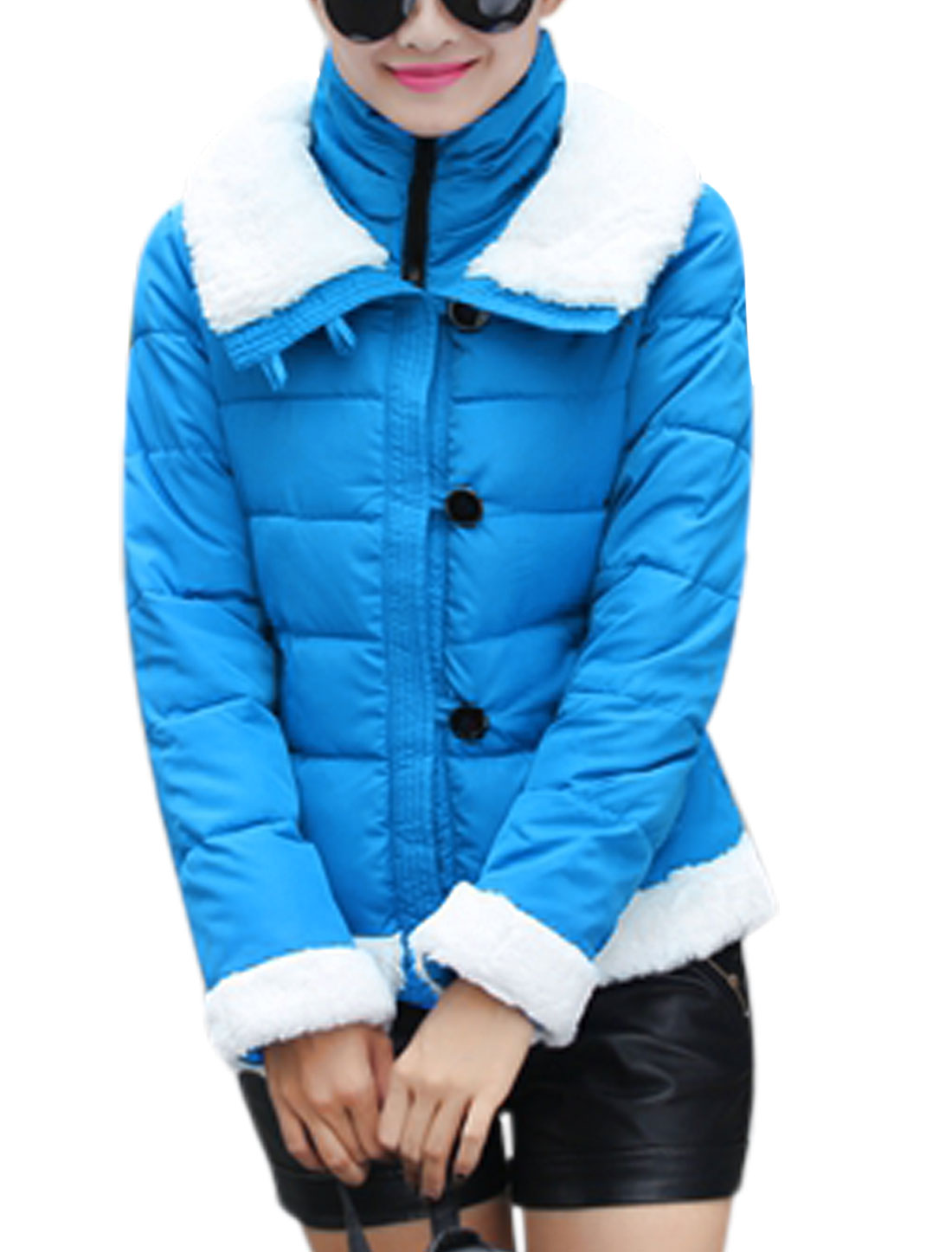 Ladies Long Sleeves Button Up Zip Closed Blue Padded Coat M